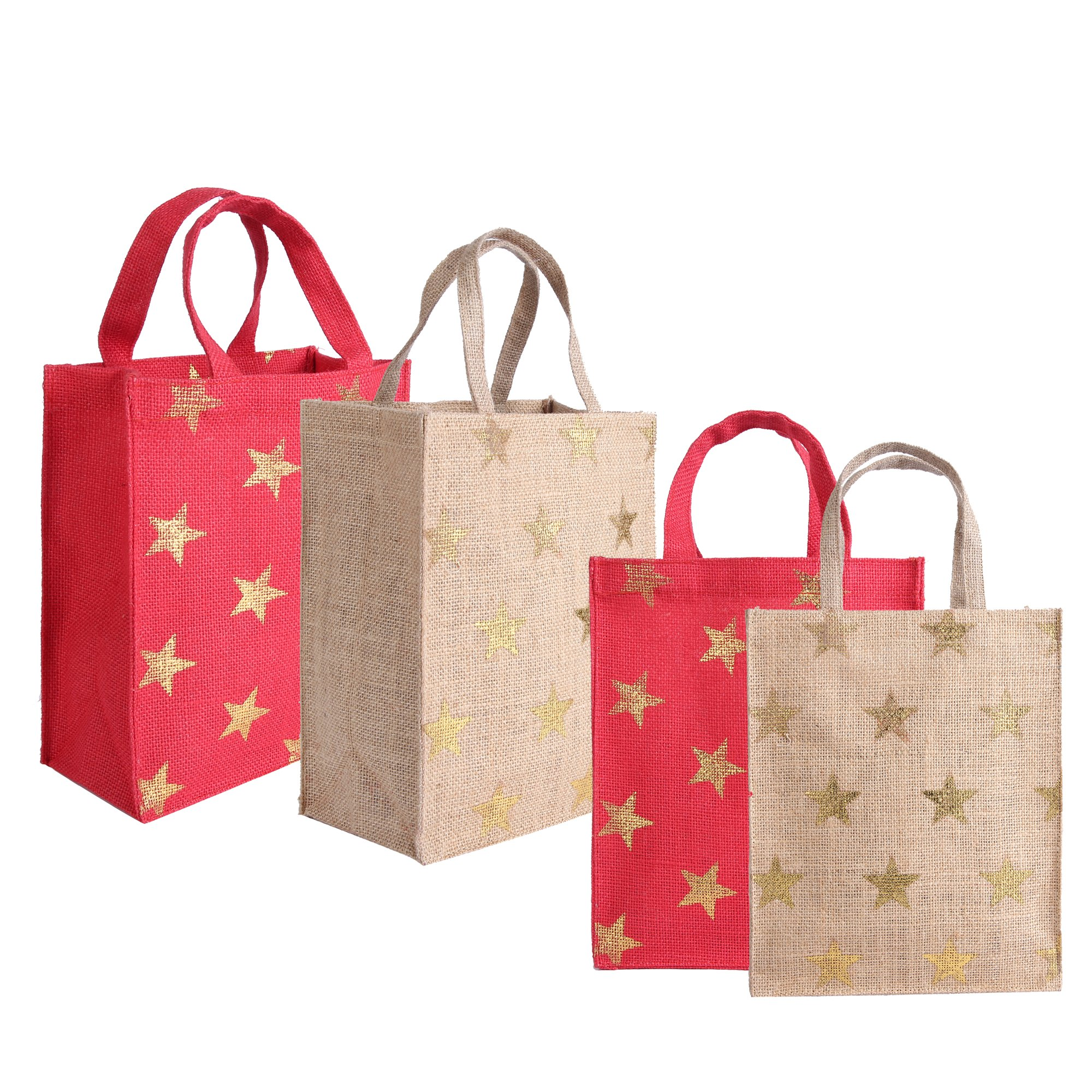 Jute Gift Bags with Gold Foil Print, Reusable and Ecofriendly from Earthbags (Pack of 4)