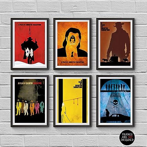 Quentin Tarantino Minimalist Poster Set 6 Movies The Hateful Eight Django Unchained Kill Bill Pulp Fiction