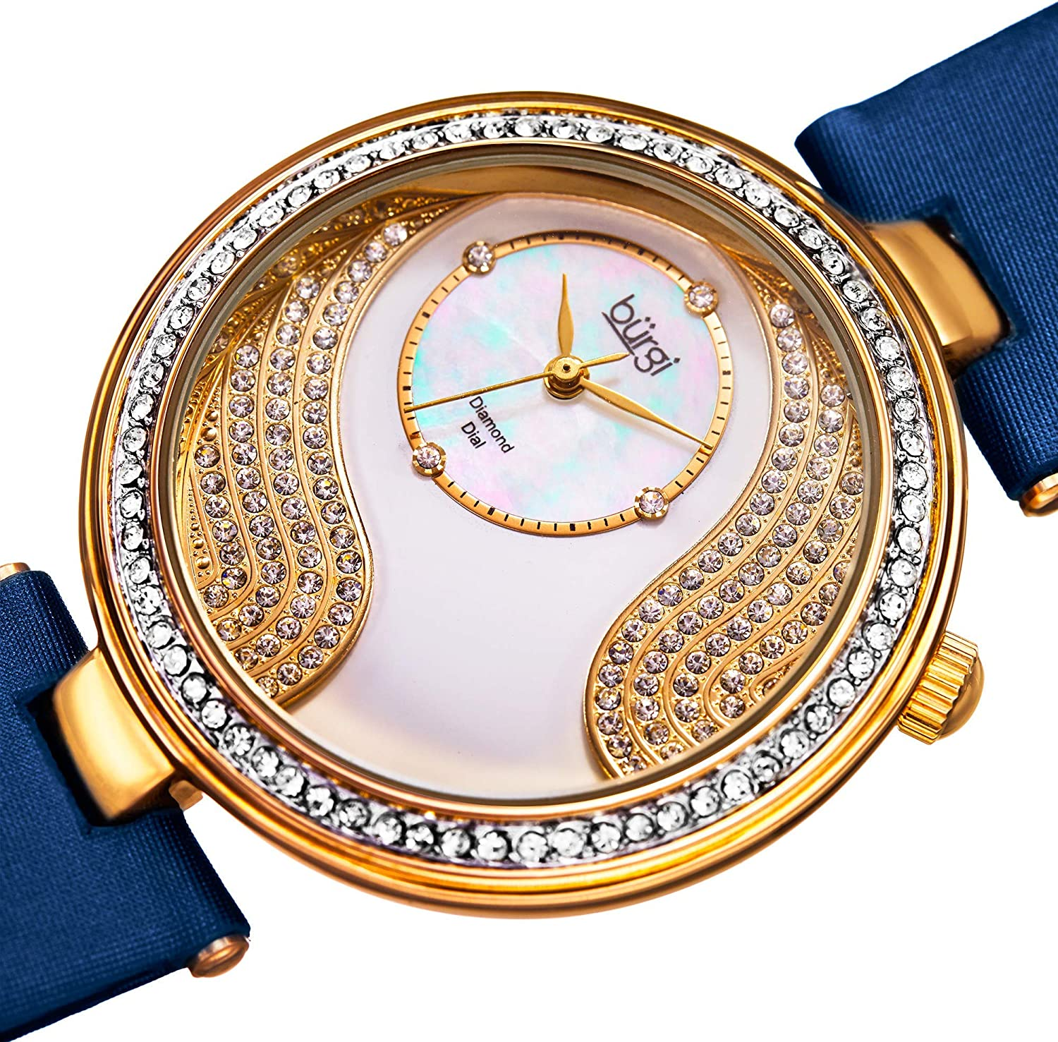 Burgi Unique Crystal Pave Design Women's Watch - Mother-of-Pearl and Sparkling Crystal Dial and Case on Genuine Leather Strap - BUR155 Blue