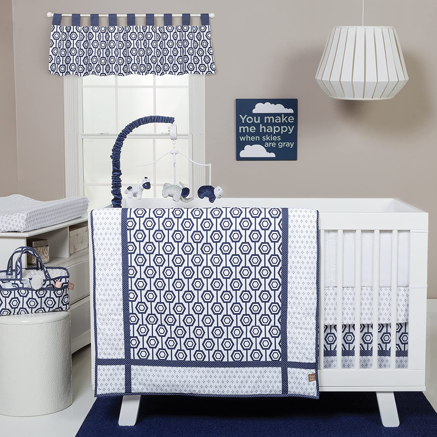Trend Lab Hexagon 3 Piece Crib Bedding Set, Navy/White 102692