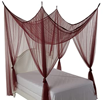 Amazon.com: Heavenly 4 Post Bed Canopy, Burgundy: Home & Kitchen