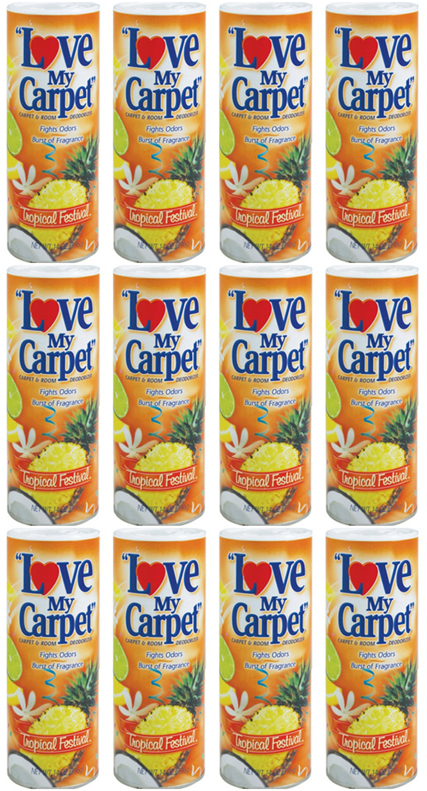 Lot of 12 (one dozen) I love my carpet Tropical Festival, 14oz/each