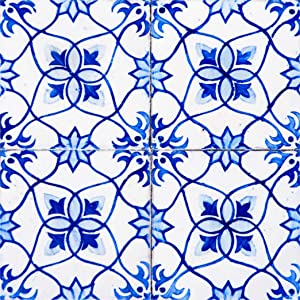 Backsplash Peel and Stick Tile Stickers 24 PC Set Authentic Tile Decals Bathroom & Kitchen Vinyl Wall Decals Easy to Apply Just Peel & Stick Home Decor (6x6 Inch, Blue Flower H19)