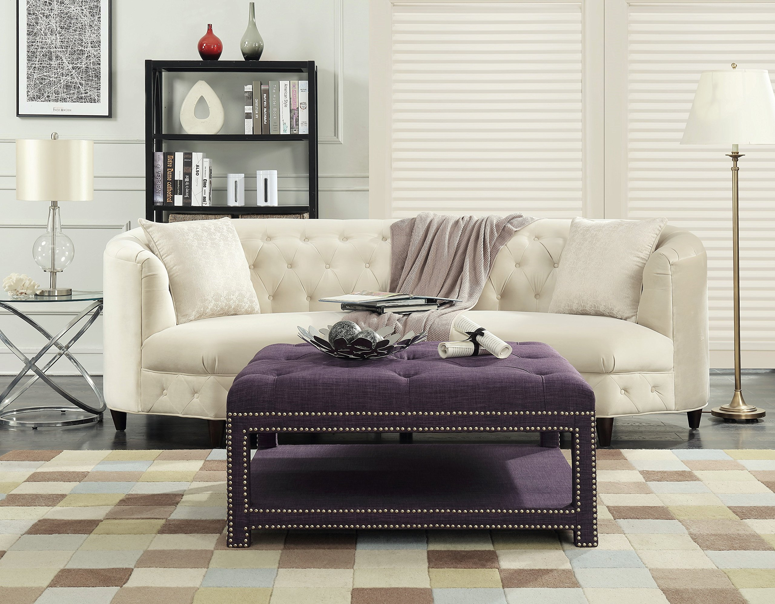 Iconic Home Bina Coffee Table Ottoman 2-Layer Polished Nailhead Tufted Linen Bench, Purple by Iconic Home
