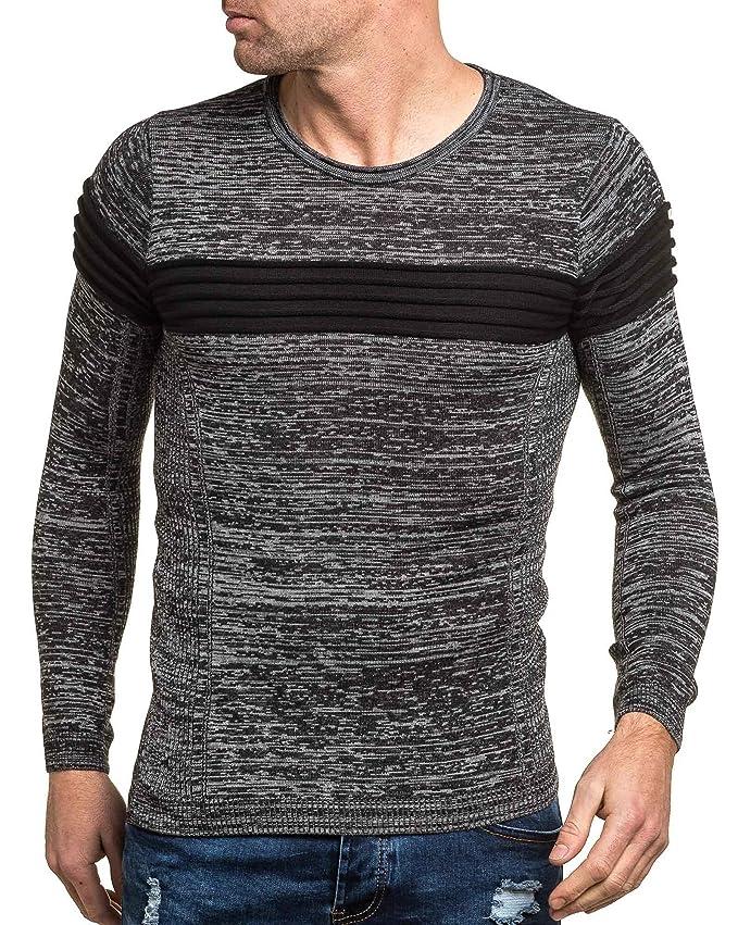 BLZ jeans - grau meliert schwarz Pullover Mann Bünden - Size: L/XL, Color:  Schwarz: Amazon.de: Bekleidung