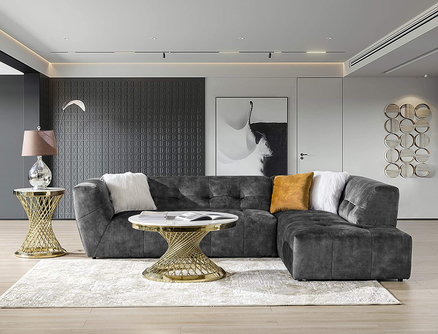 Amazon Com Acanva Luxury Mid Century Velvet Tufted Low Back Sofa Set L Shape 2 Piece Living Room Couch 113 W Right Hand Facing Sectional Grey Furniture Decor