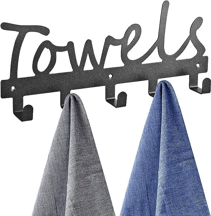 Heavy-duty Storage for Coat Robe for Kitchens and Bathrooms MBUHJ Over The Door Hook Hanger White Towel Towel Rack for Top of Doors 6 Hooks Towel Rack Bag