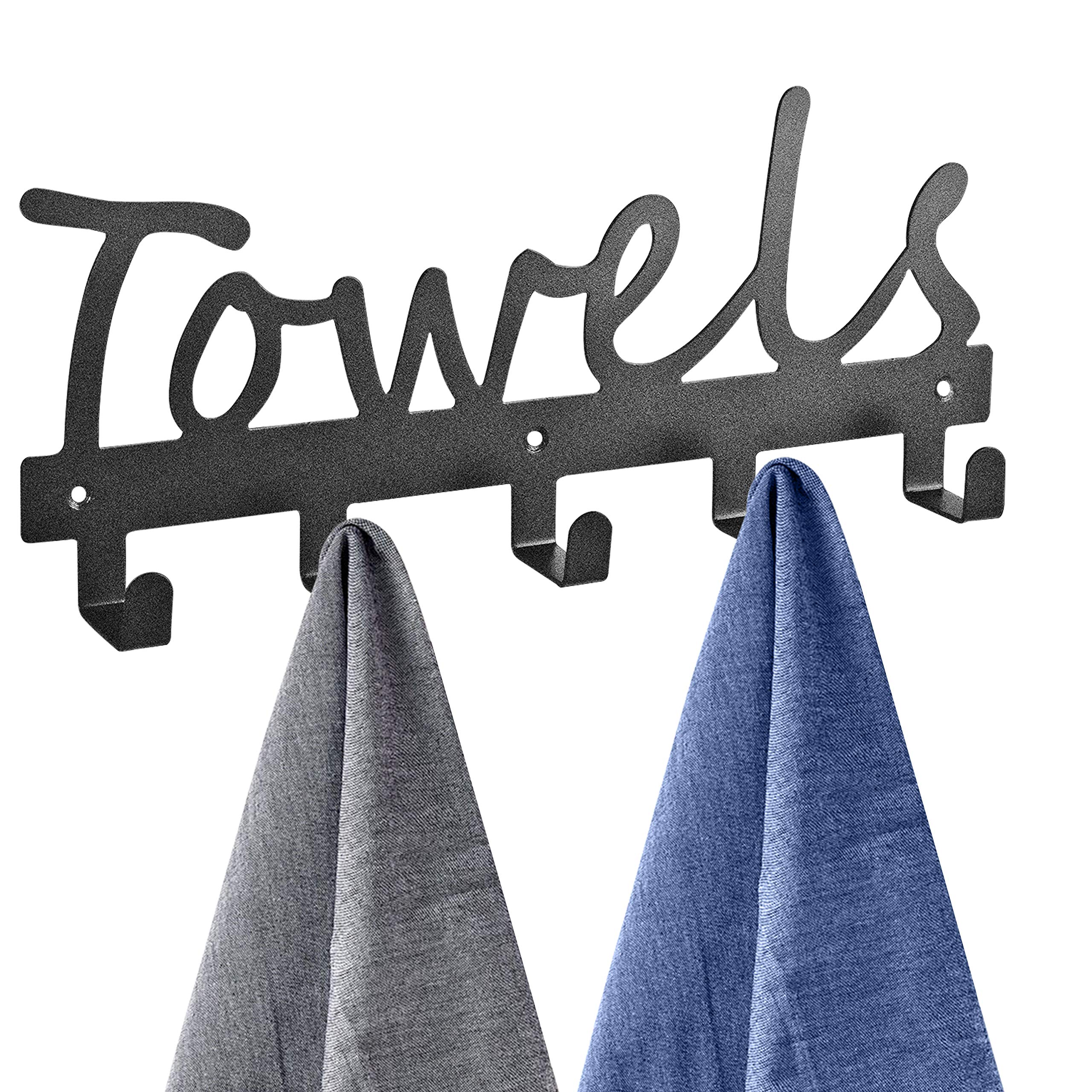Towel Racks 5 Hooks Black Sandblasted Robe Hooks Wall Mount Towel Holder Black Metal Towel Racks Rustproof and Waterproof for Kitchen Storage Organizer Rack, Bathroom Towels, Robes, Clothing by Topspeeder