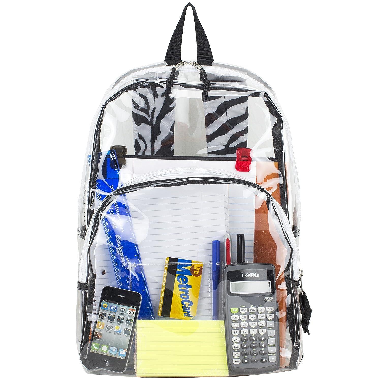 Original mochila transparente con tirantes de cebra. Opción de muchos mas diseños.
