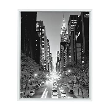Kate and laurel sylvie 42nd street at night black and white photography framed canvas digital