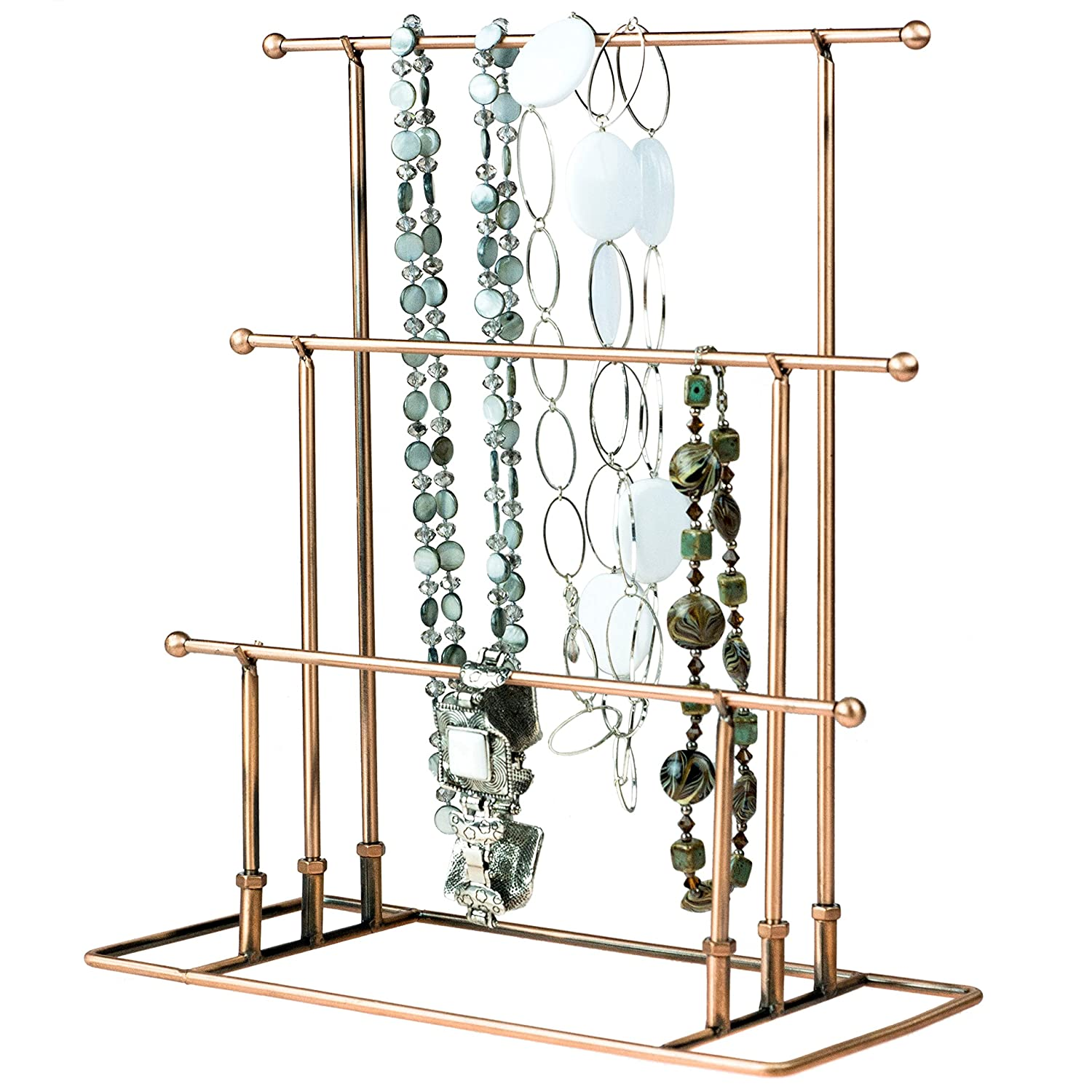 13 inch Bronze Metal 3-Tier Necklace Bracelet Holder Jewelry Tower Hanger Organizer Display Rack MyGift TB-J0027BRZ