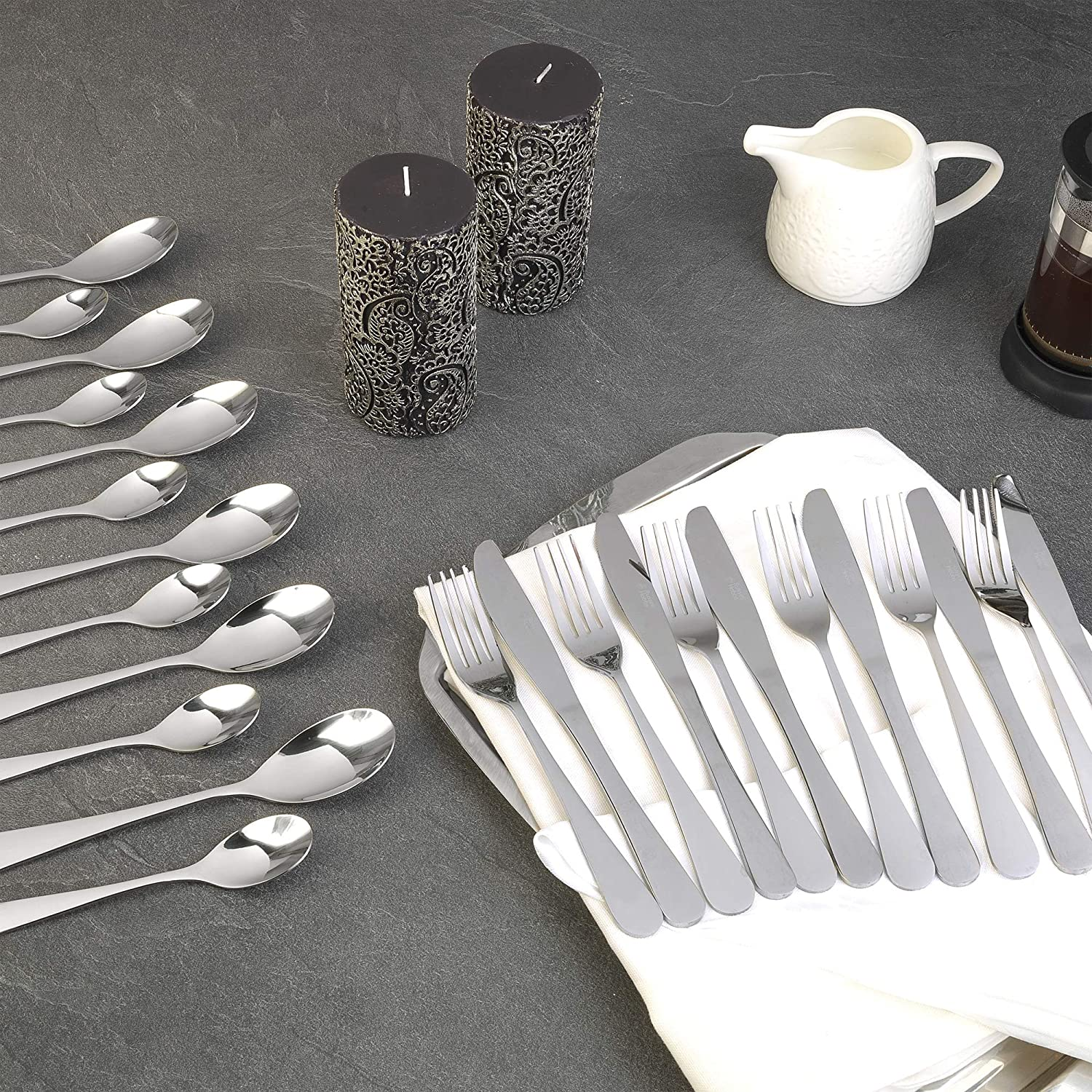 Amazon.com: Russell Hobbs BW03130 Deluxe London Silver Stainless Steel 24 Piece Stylish Cutlery Set by Russell Hobbs: Home & Kitchen