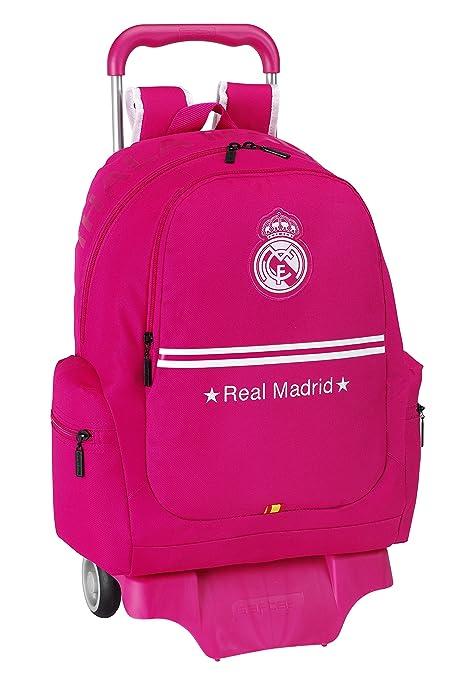 Real Madrid - Mochila grande con ruedas, color rosa (Safta 611454313)
