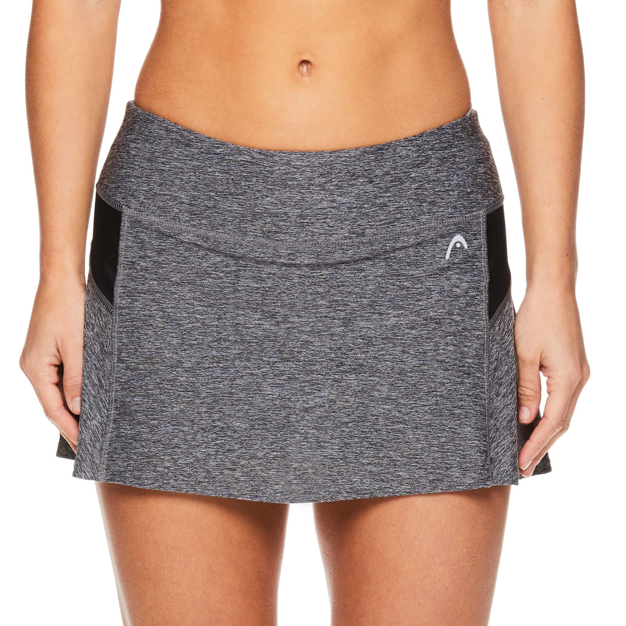 HEAD Women's Athletic Tennis Skort - Performance Training & Running Skirt - Black Heather, X-Small