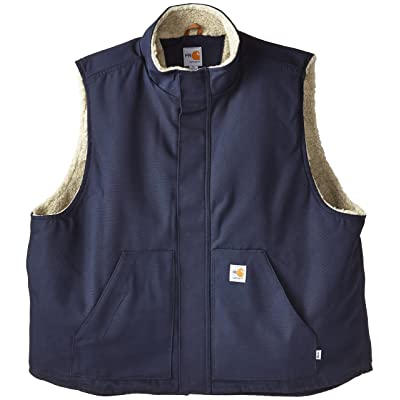 Carhartt Men's Big & Tall Flame Resistant Mock Neck Sherpa Lined Vest at Men's Clothing store