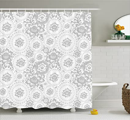 Ambesonne Grey Decor Shower Curtain Shabby Chic Medieval Slavic Monochrome Rose Petals Florets Ethnic Fragrance