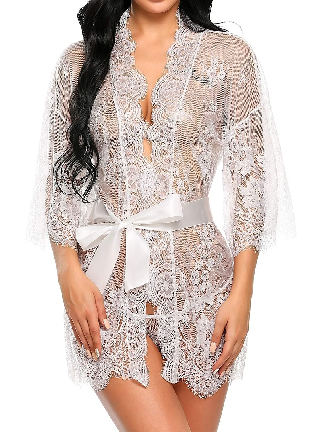 Asatr Womens Lace Kimono Sexy Nightgown Transparent Mesh Lingerie at Amazon Womens Clothing store: