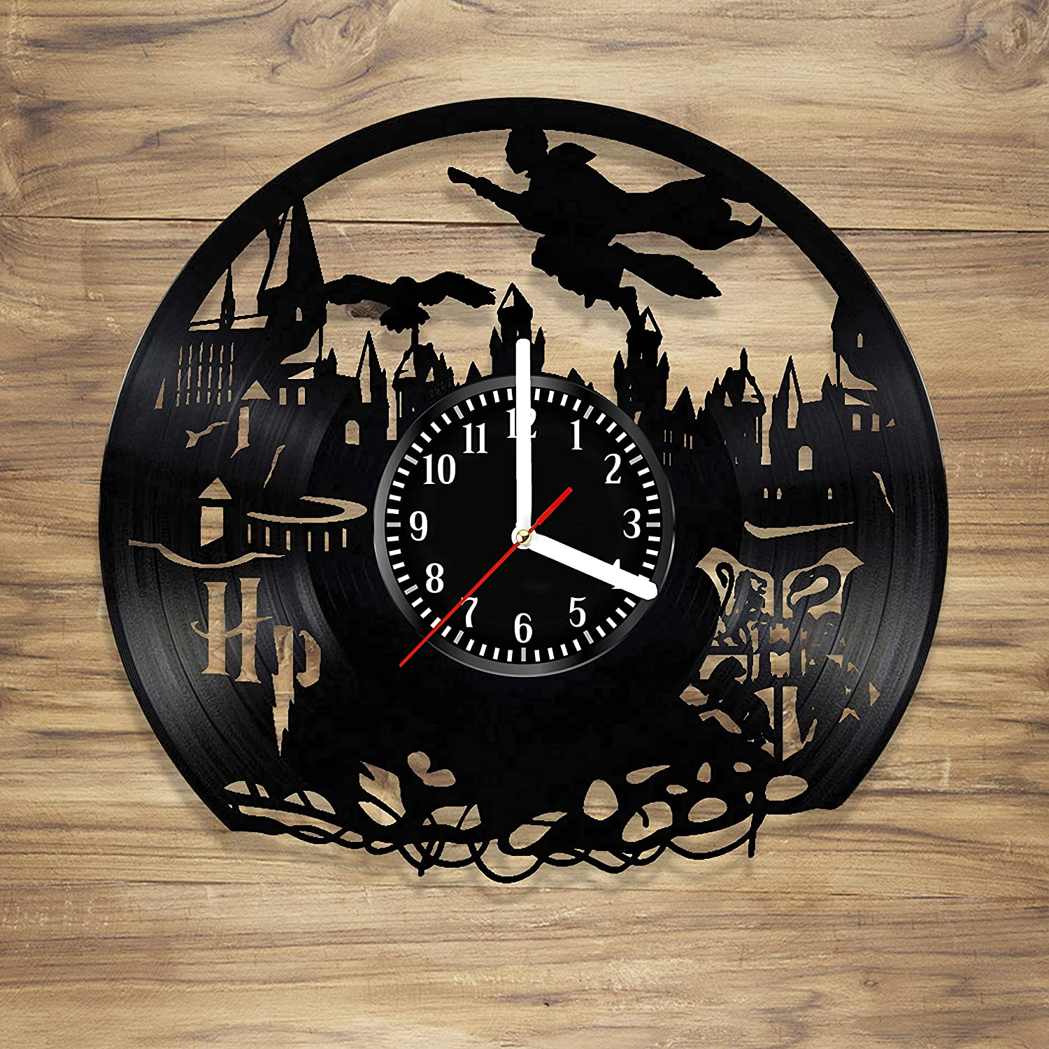 Harry Potter Wall Clock Vinyl Hogwarts Design Snape and Beautiful Art Decorate Your Home with Modern Style Unique Gift idea for Him and Her (12 inches)