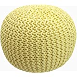 COTTON CRAFT - Hand Knitted Cable Style Dori Pouf - Yellow - Floor Ottoman - 100% Cotton Braid Cord - Handmade & Hand Stitche