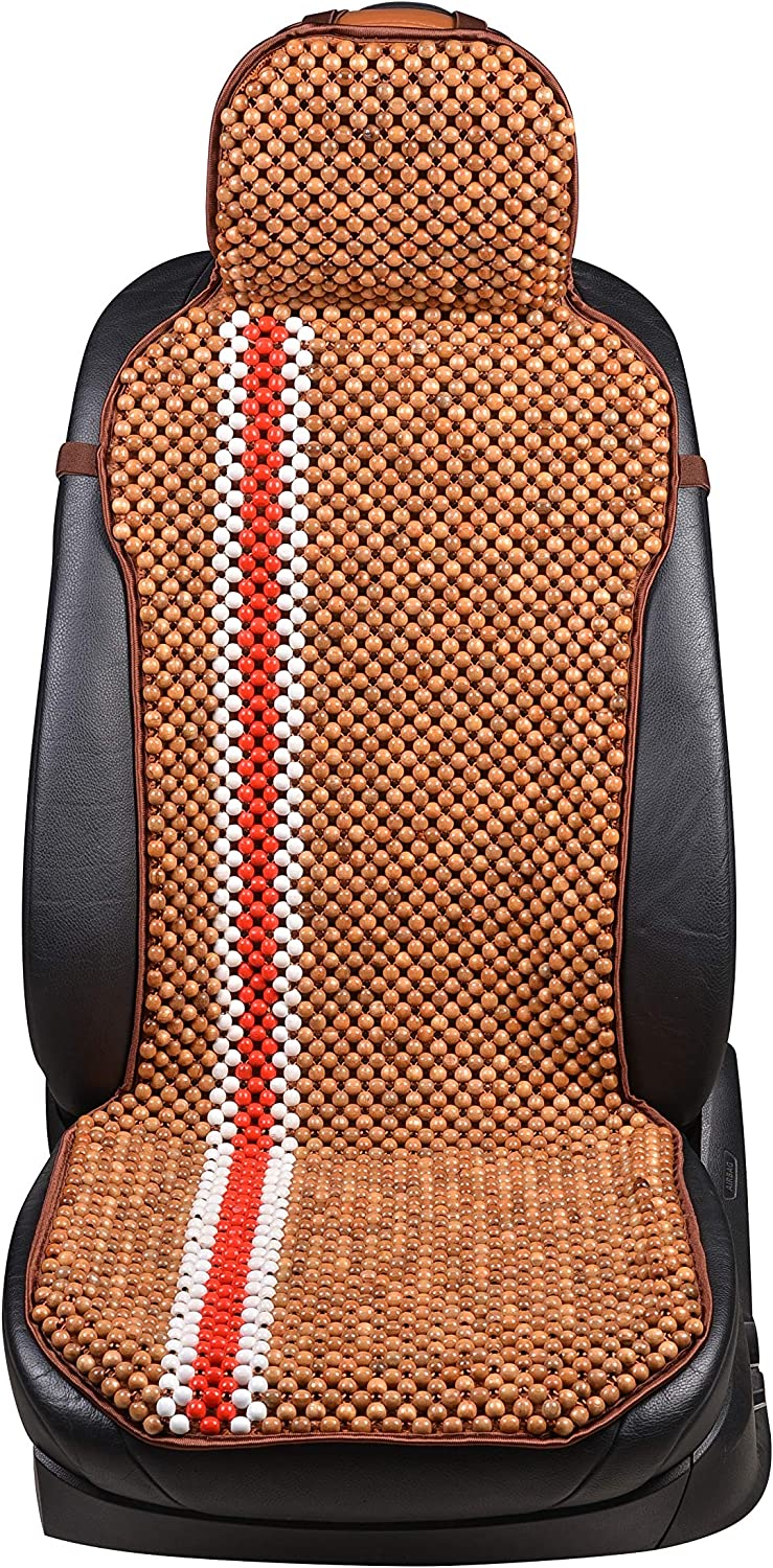 2-Burgundy-XMY KENNISI Wooden Beaded Seats Cover Car Automobile Large Bead Cushion Chair Truck Taxi for Summer 1-PC