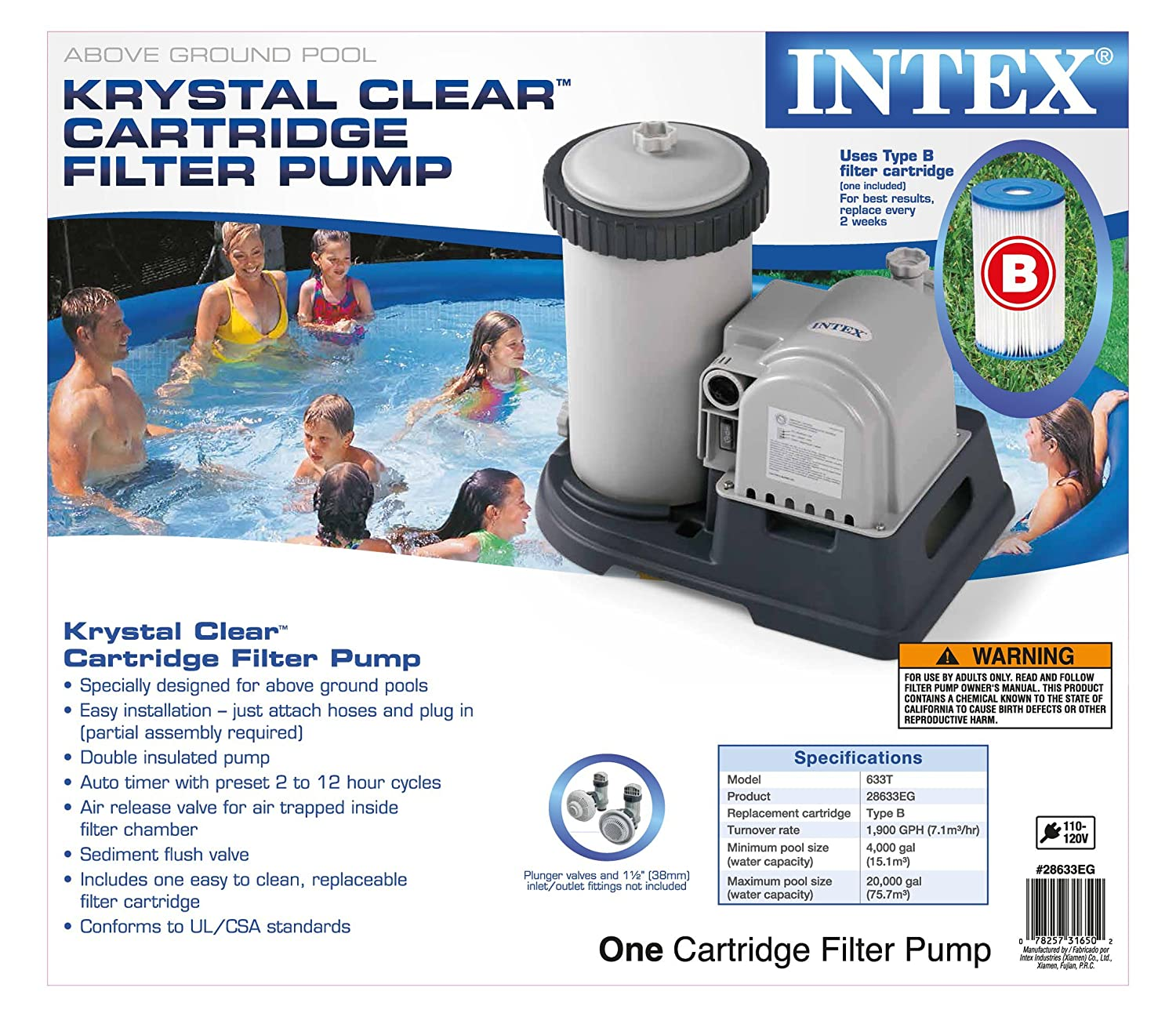 Amazon.com : Intex 2500 GPH Filter Cartridge Pump with Timer and Above  Ground Pool Vacuum : Garden & Outdoor