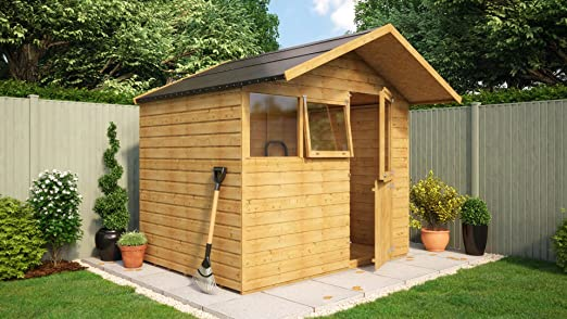 8 x 6 de madera cobertizo caseta de jardín puerta sólido central ...