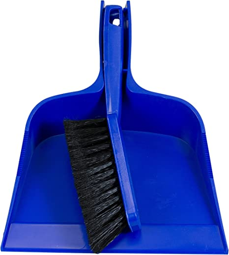 Blue dustpan and brush set on white background