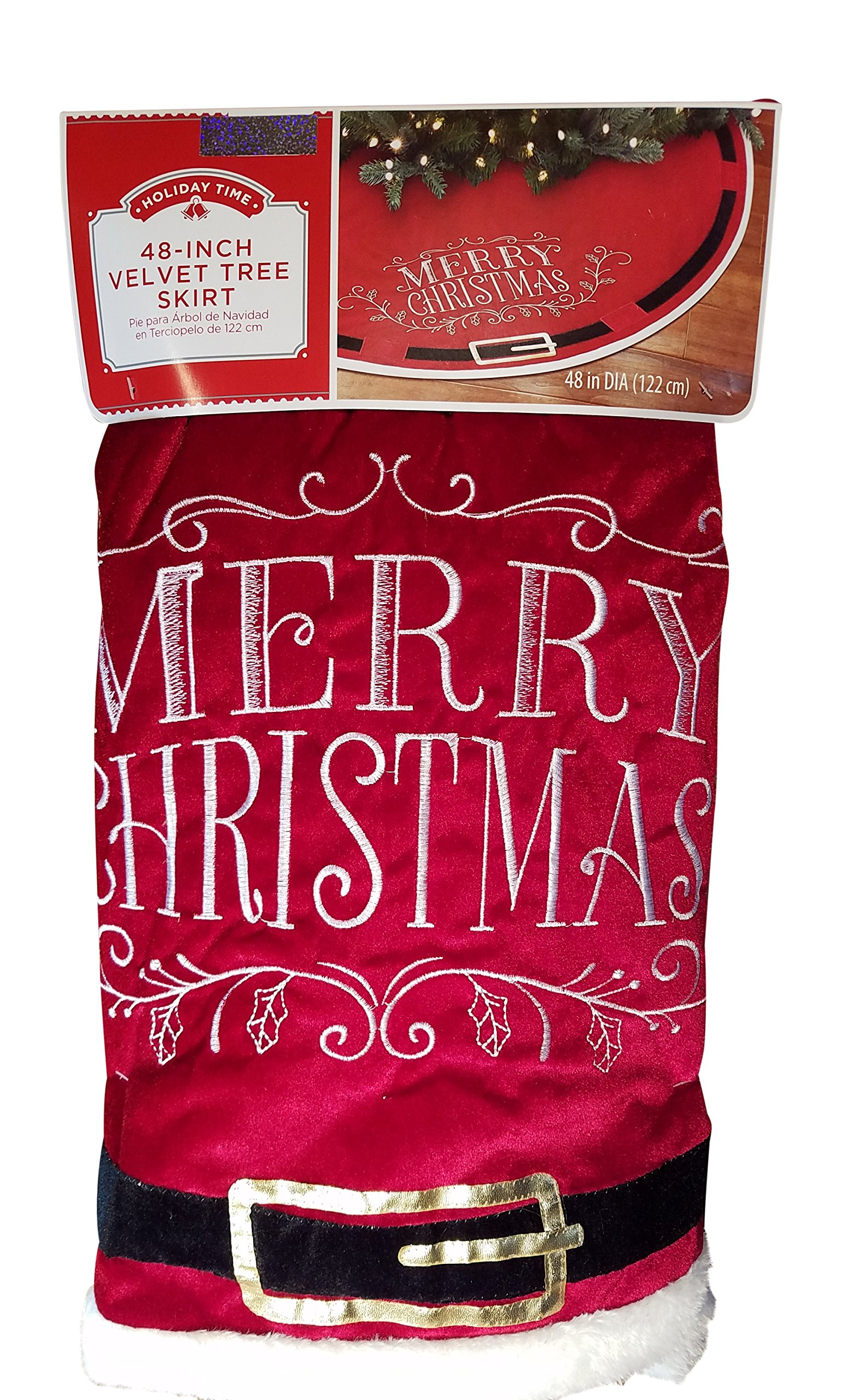 Christmas Tree Skirt - Merry Christmas with Santa Claus Belt Decoration - 48 Skirt by Holiday Time (Image #2)