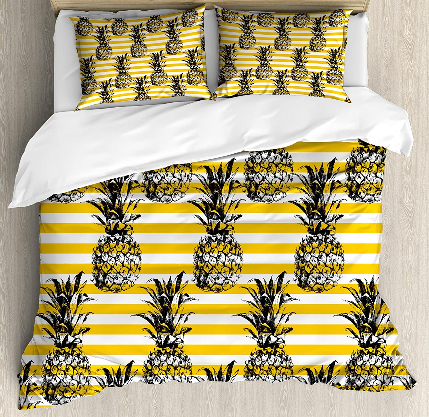 Ambesonne Grunge Duvet Cover Set Queen Size, Retro Striped Background with Pineapple Vintage Hippie Graphic, Decorative 3 Piece Bedding Set with 2 Pillow Shams, Yellow Black