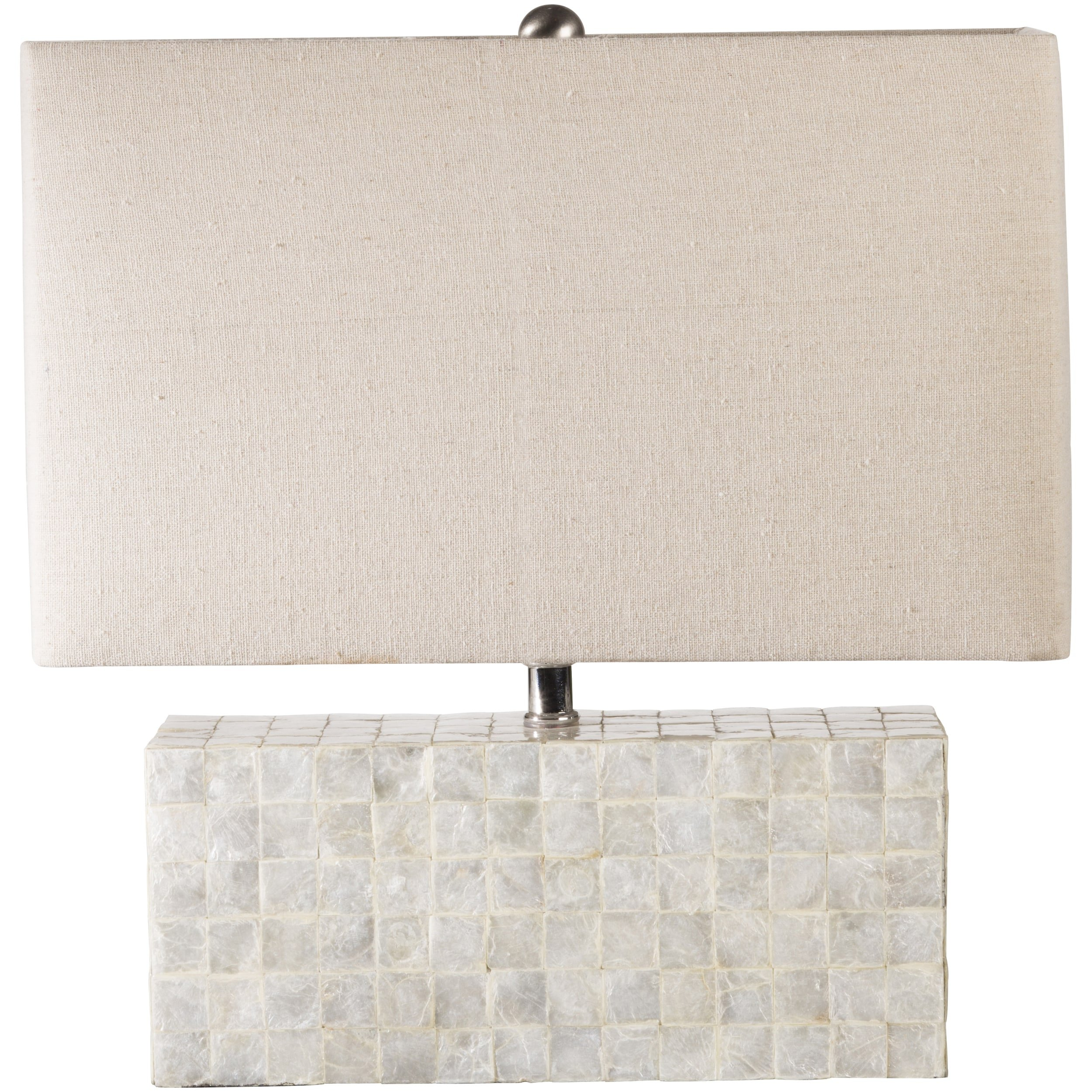 16'' Retro Eclectic Rectangle Table Lamp with Faux Shell Base with Linen Oatmeal Shade
