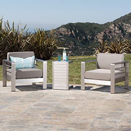 Charmant Crested Bay Patio Furniture ~ Outdoor Aluminum Patio Chairs With Side Table  (Chat Set)