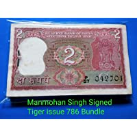 2 Rupee Tiger Issue 786 Bundle, Manmohan Singh Signed~Unused,Fresh Pinned~Free Ship