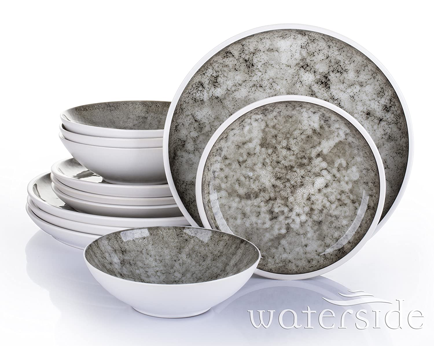 12 Piece Eclipse Reactive Glaze Dinner Set Waterside Fine China