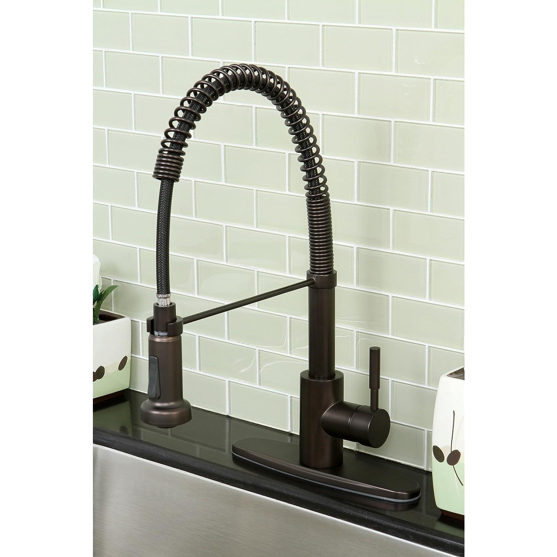 Kingston Brass Modern Oil Rubbed Bronze Spiral Pull down Kitchen