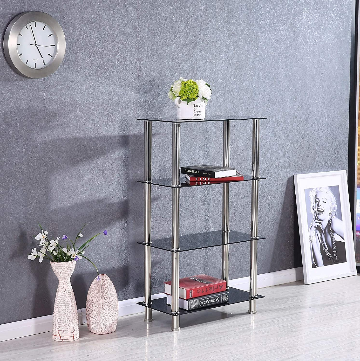 Decorative Shelves Glass 4 Tier Household Floor Storage by Better Home Products