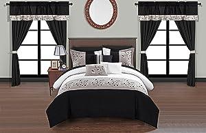 Chic Home Sonita 20 Piece Comforter Set Color Block Floral Embroidered Bag Bedding, Queen, Black