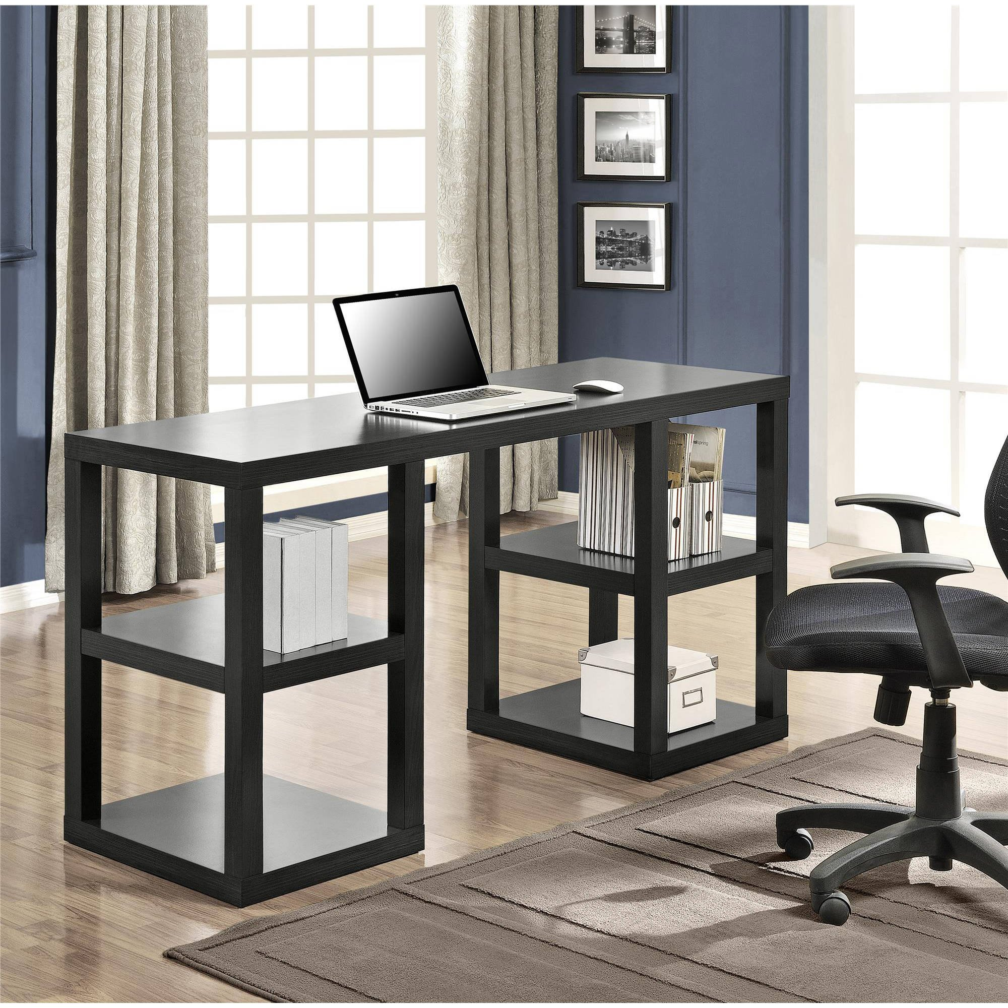 Wooden Double Pedestal Parsons Desk, large Workspace suitable for both laptop and computer use, Contemporary design, Good furniture for Office and Home use, Multiple Colors ( 60''W x 21-5/8''D x 32''H)
