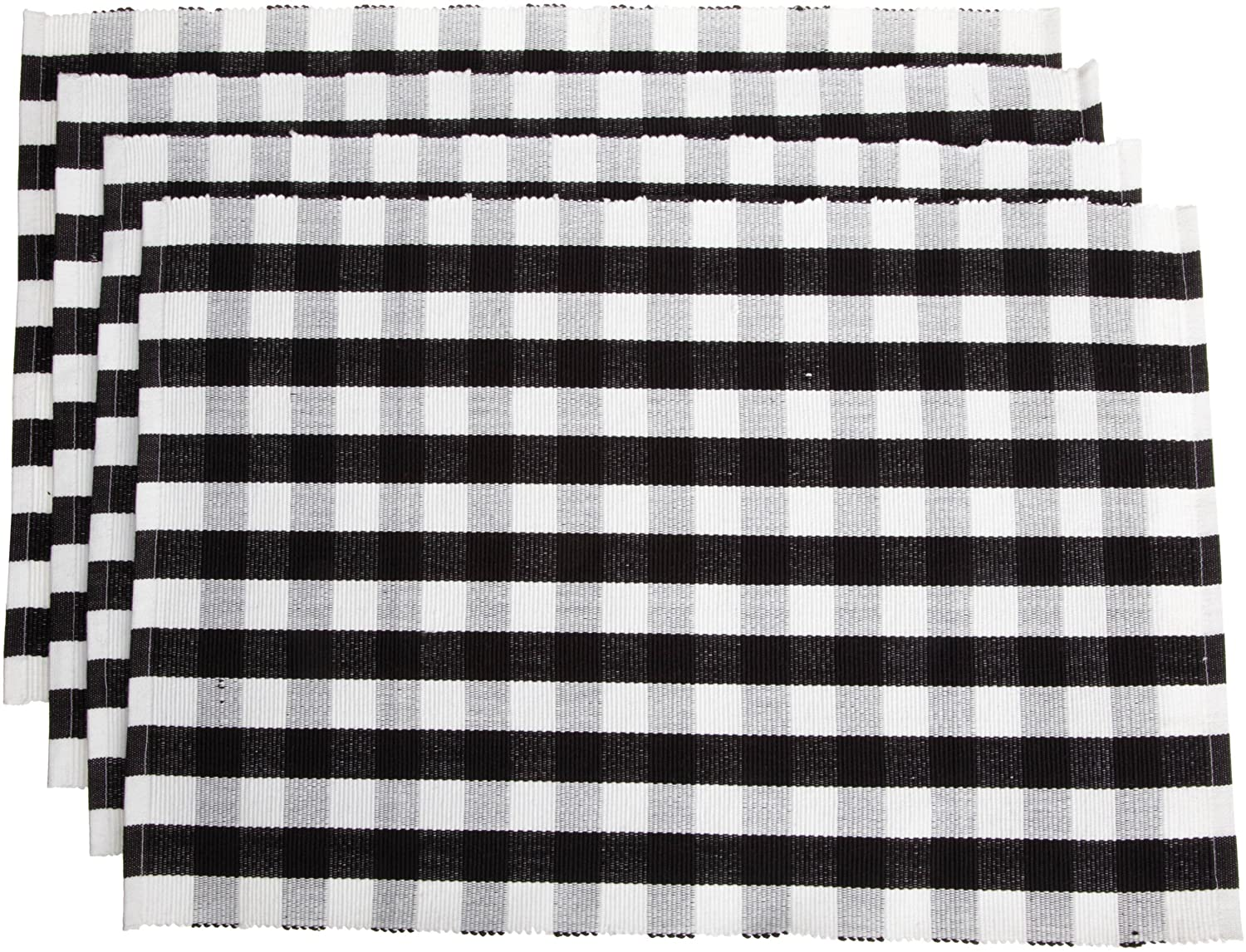 Set of 4 T301BKRP Black and White Mahogany Small Check 100-Percent Cotton 13-Inch By 19-Inch Euro Ribbed Placemat
