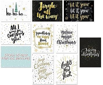 Moderne Weihnachtsgrüße Für Karten.20 Typographie Postkarten Set 10 Motive Mit Jeweils 2 Karten Moderne Weihnachtskarten Spruchkarten Sprüche Postkarten Winter Weihnachten