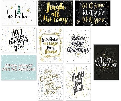 Moderne Weihnachtskarten.20 Typographie Postkarten Set 10 Motive Mit Jeweils 2 Karten Moderne Weihnachtskarten Spruchkarten Spruche Postkarten Winter Weihnachten