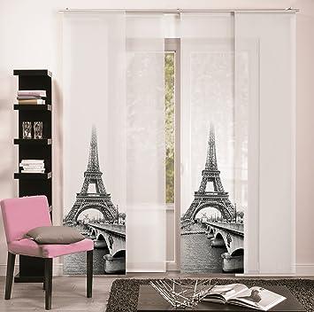 Panneau japonais 60 cm de largeur x 245 cm de long rideau noir/blanc ...