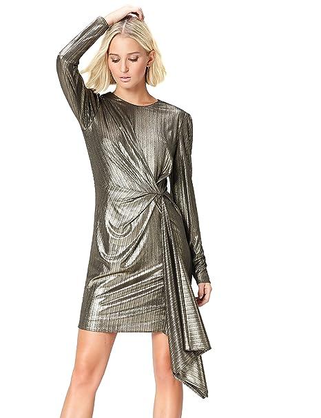 FIND Vestito Asimmetrico Metallizzato Donna c8427b89b0e