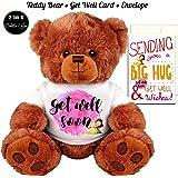 "Get Well Soon Teddy Bear and Get Well Wishes Card Gift: Medium Teddy Bear Stuffed Animal : 5"" X 7"" Get Well Soon Card"