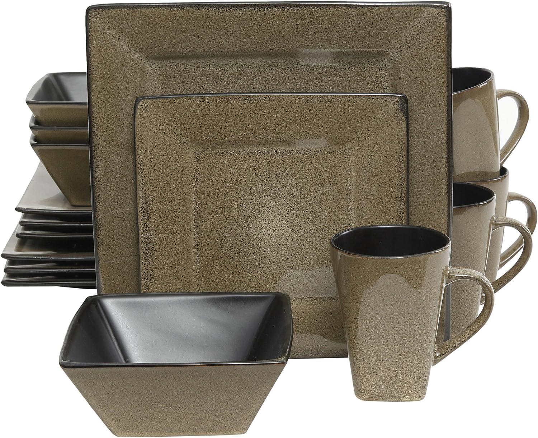 Gibson Elite Kiesling 16 Piece Dinnerware Set, Taupe