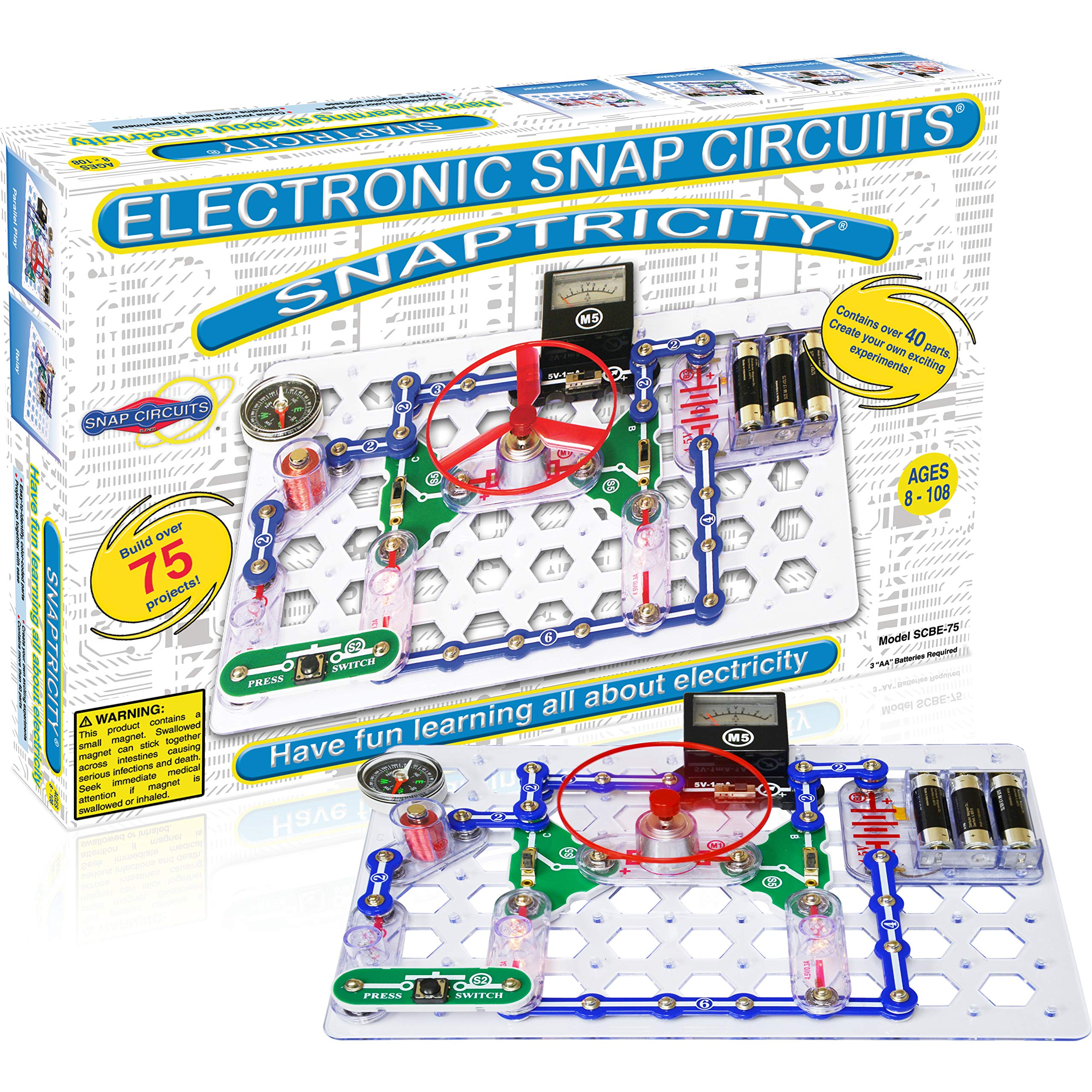 Snap Circuits Snaptricity Electronics Exploration Kit | Over 75 STEM Projects | 4-Color Project Manual | 40 Snap Modules | Unlimited Fun by Snap Circuits