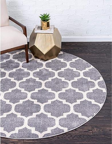 Unique Loom Trellis Collection Moroccan Lattice Dark Gray Round Rug 8 0 x 8 0