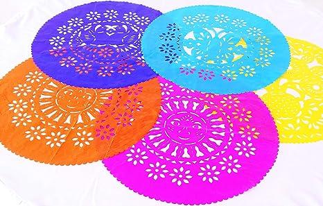 Mexican Fiesta Decorations Round Paper Placemats 5 Pk Papel Picado Fiesta Party Supplies Cinco De Mayo Mexican Table Top Decor Centerpiece Made