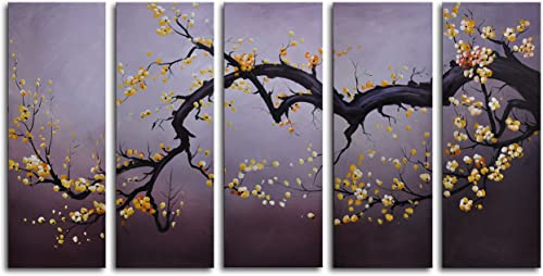 MyArtOutlet 5 Piece Hand Painted Japanese Branch Charcoal Sky Canvas Art Set