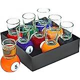 Fairly Odd Novelties Billiards Pool Ball Shot Glasses, Set of 9 Fun Sports Bar Drinking Gift Pack, One Size