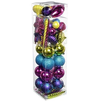 Bruchsichere Christbaumkugeln.Werchristmas 72 Teile Kunststoff Bruchsichere Christbaumkugeln Verschiedene Rosa Violett Grün Blau Mehrfarbig Farbe